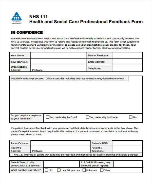 social-care-professional-feedback-form