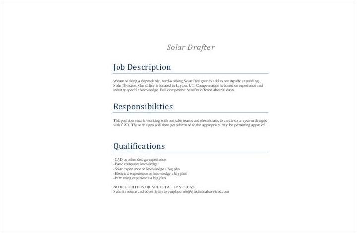 solar drafter job description