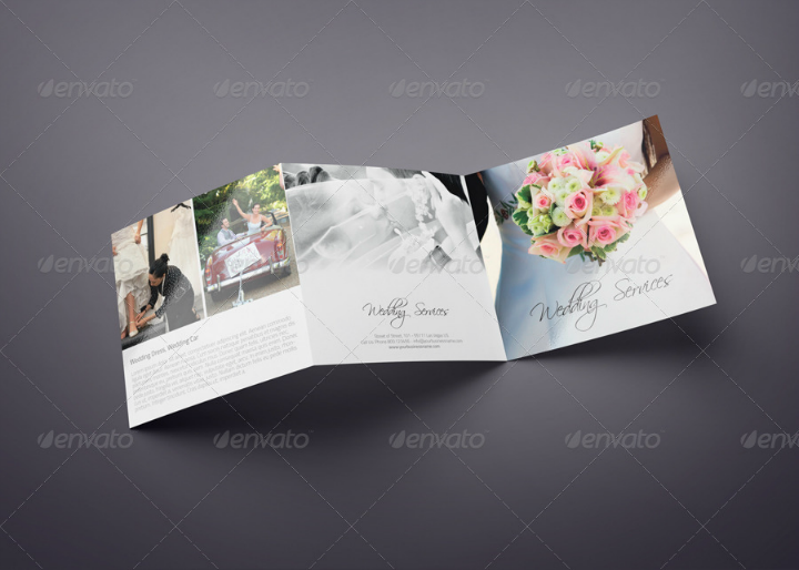 square trifold wedding brochure template