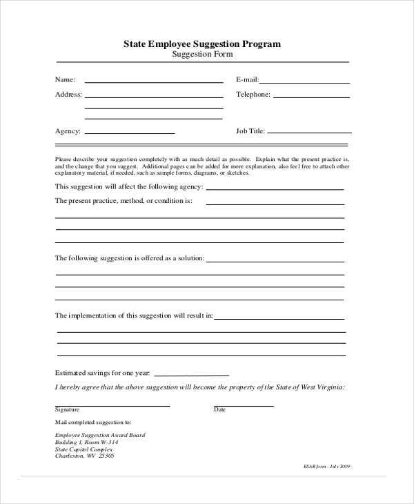 Employee Suggestion Forms  Templates  Pdf Word  Free
