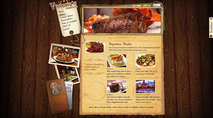 Steak House Menu Page Design