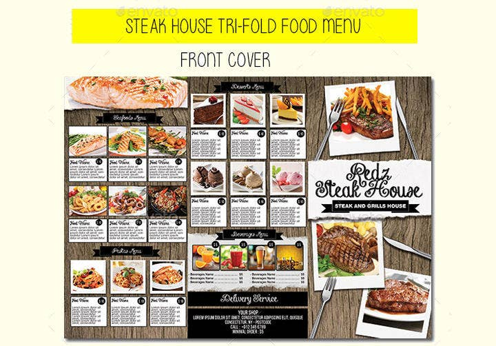 Steak House Tri-fold Menu