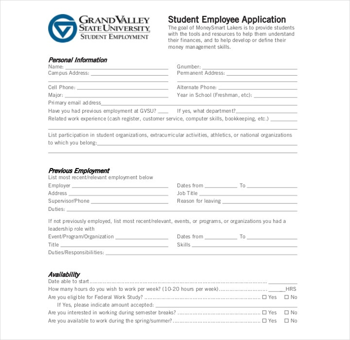 Student Employee Application Form