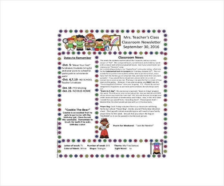 Teacher Classroom Newsletter Template