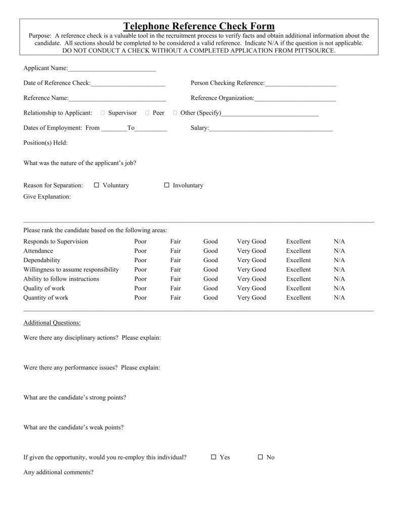 employment reference check form template - 12 reference checking forms templates pdf doc free