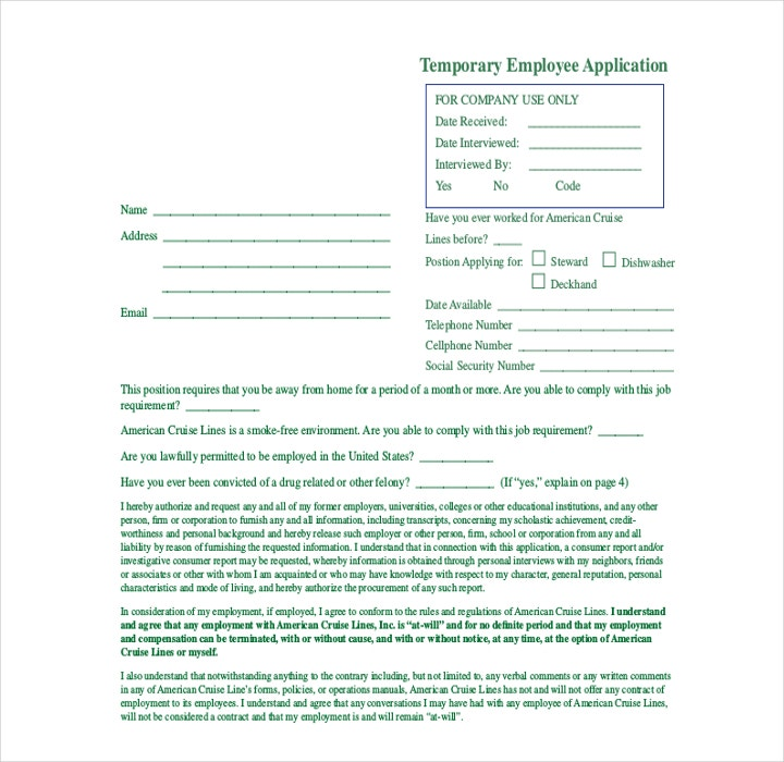 Temporary Employee Application Form