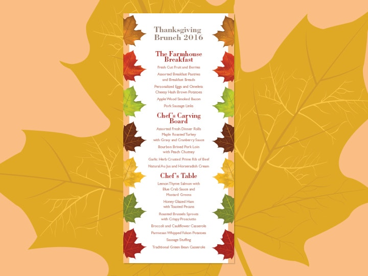 thanksgiving brunch menu template