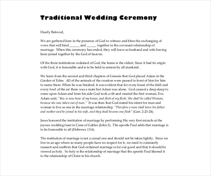 traditionally designed wedding ceremony template