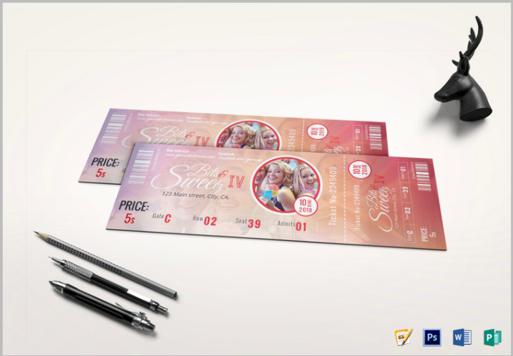 vip event ticket template psd