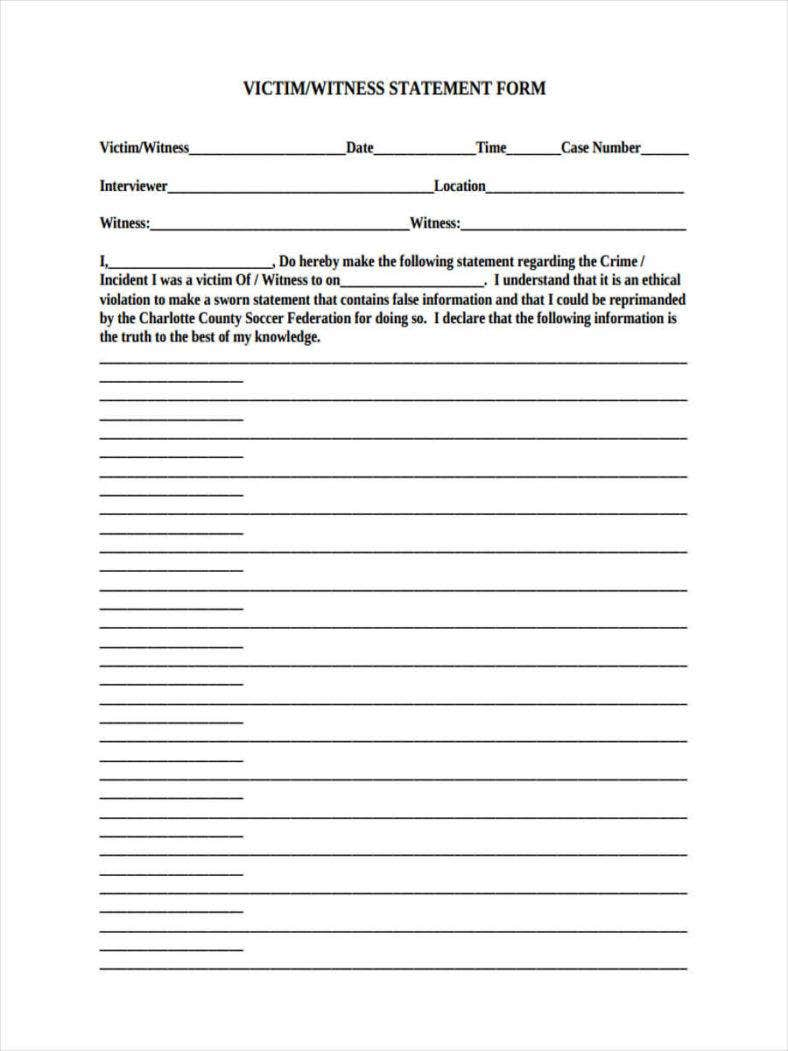 13 witness statement forms free pdf doc format download free victim witness statement thecheapjerseys Image collections
