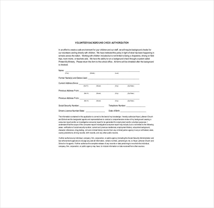 Volunteer Background Check Authorization Form