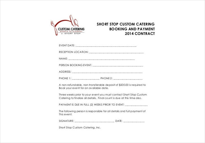 Wedding Catering Contract