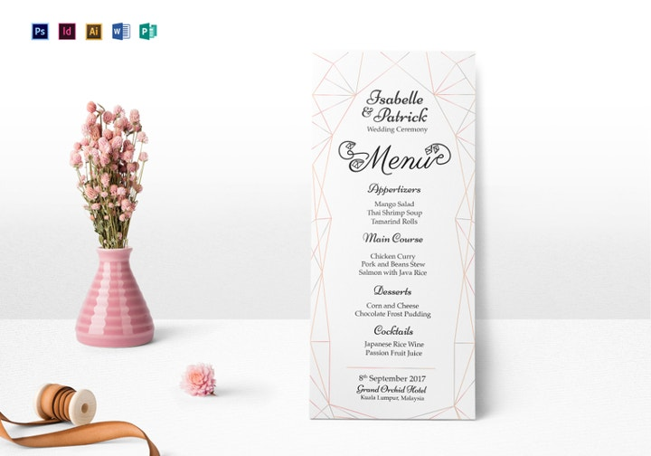wedding ceremony menu template