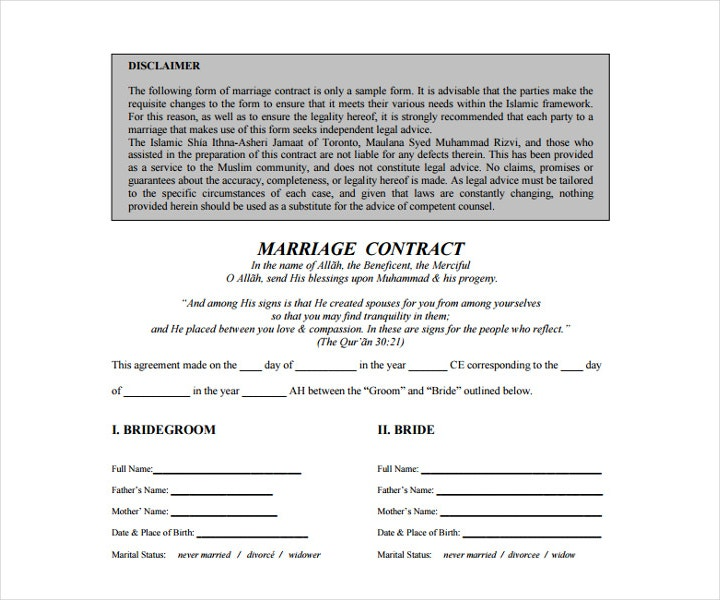 Wedding Contract Template Free