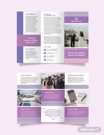 wedding event tri fold brochure template