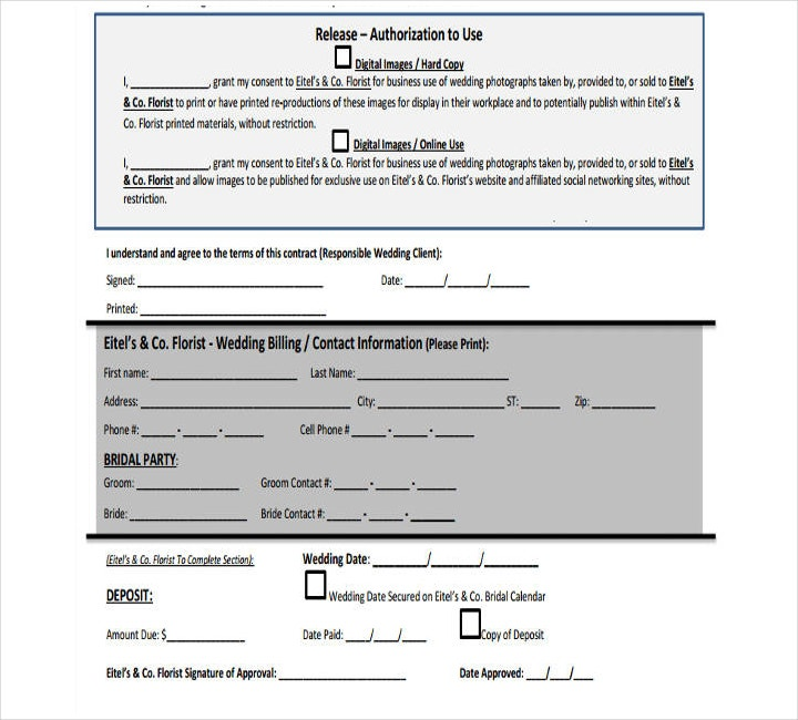wedding florist payment schedule