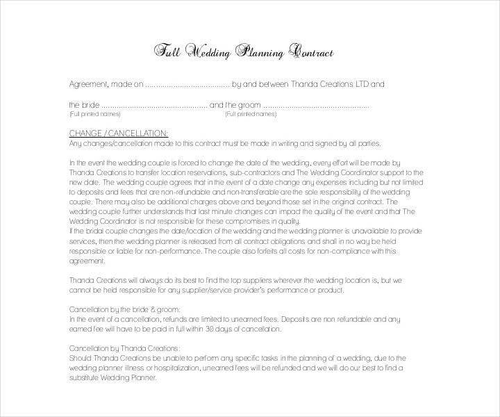 18 Wedding Contract Templates Pdf Google Docs Format
