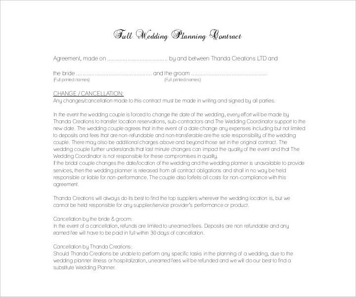 Wedding Planner Service Contract Template