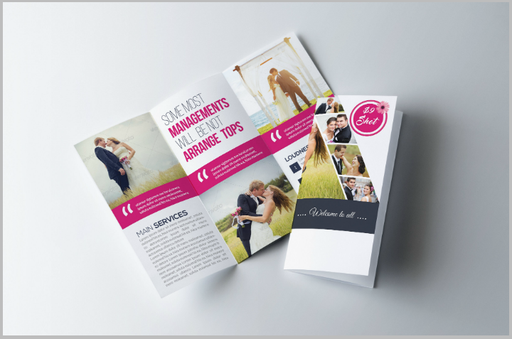 wedding program trifold brochure template