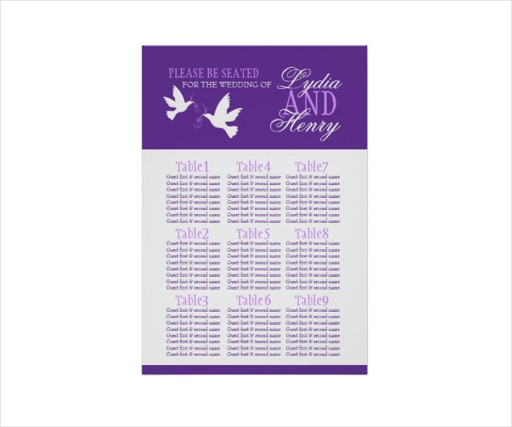 wedding seating chart example
