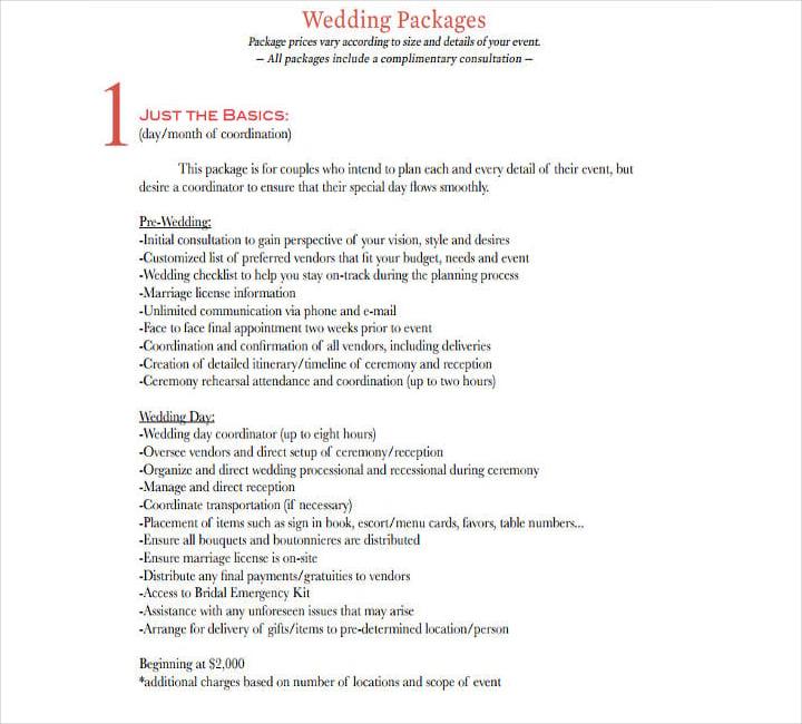 wedding vendor payment schedule