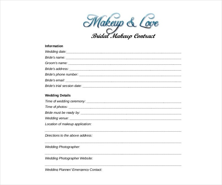 Wedding and Bridal Makeup Service Contract