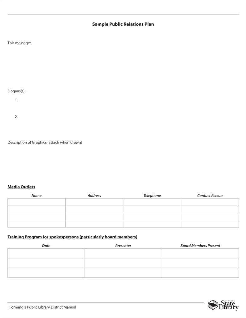 Blank Sample Public Relations Plan Template