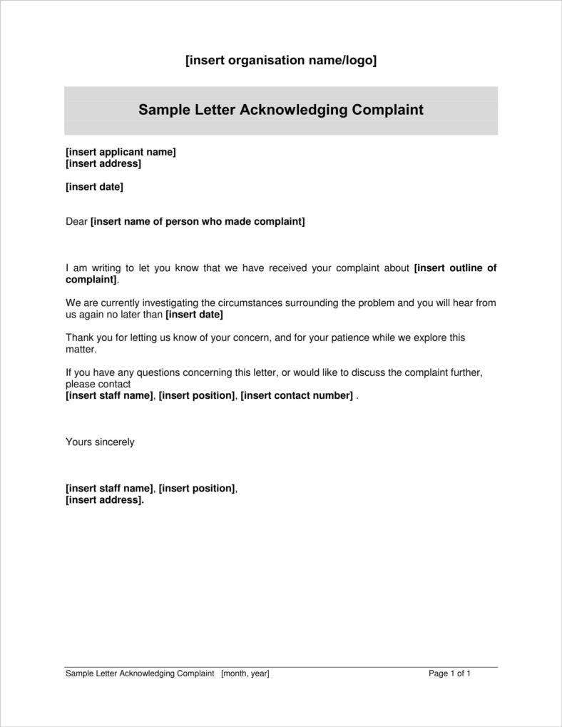 Complaint Acknowledgement Letters  Free  Premium Templates