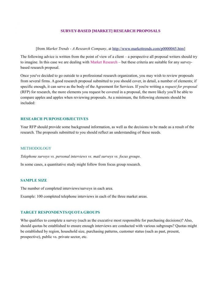 9 market research proposal templates pdf doc free for Market research document template