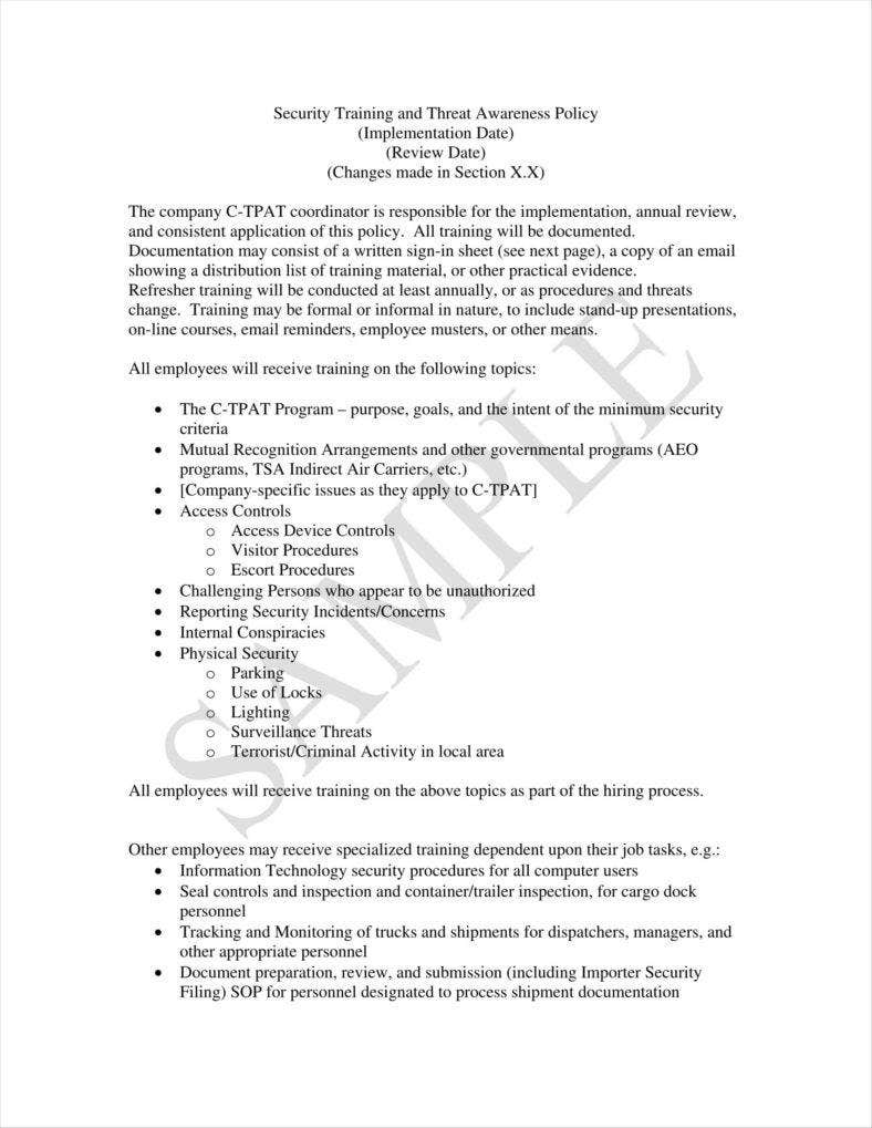 security training policy template