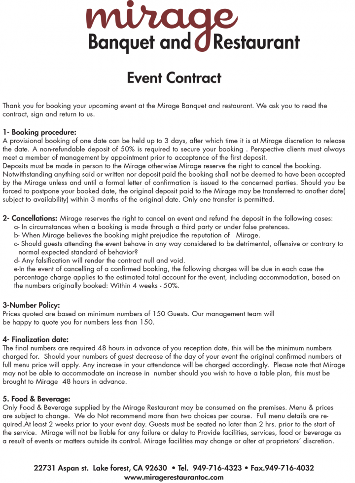 Banquet And Restaurant Event Contract