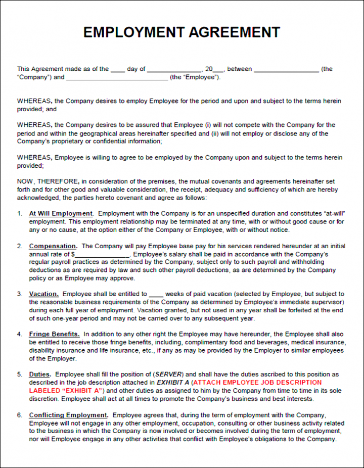 How to write effective employment agreements for a for Wage agreement template