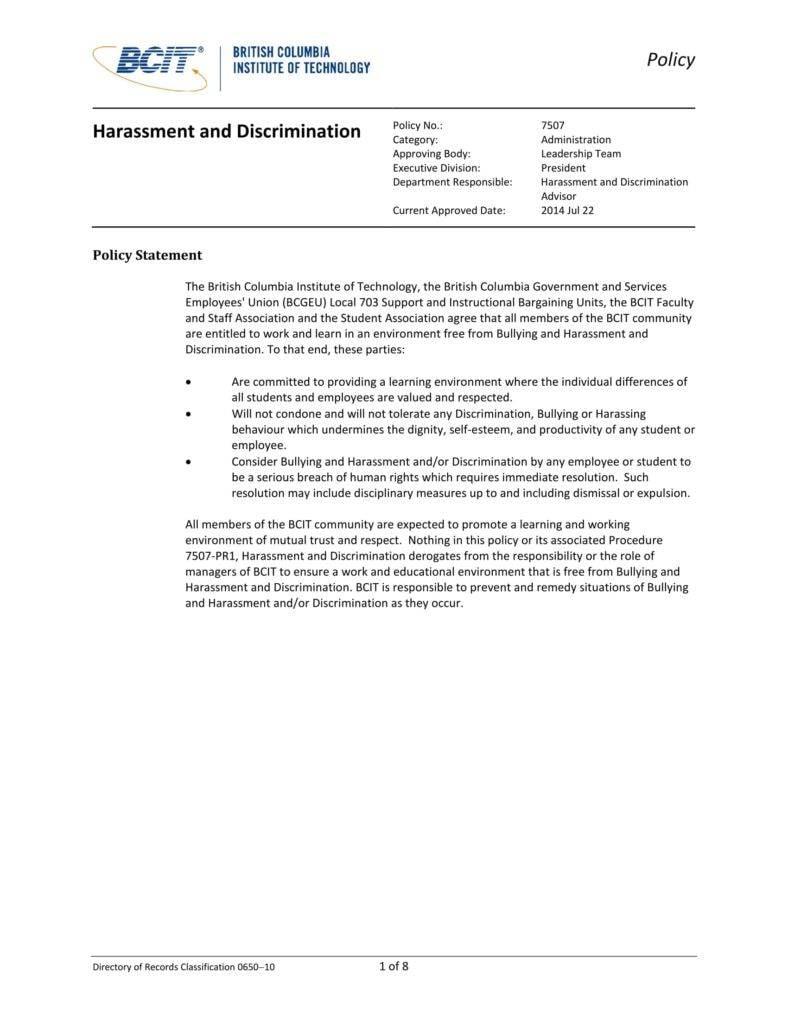 5 harassment policy templates pdf doc free premium templates. Black Bedroom Furniture Sets. Home Design Ideas