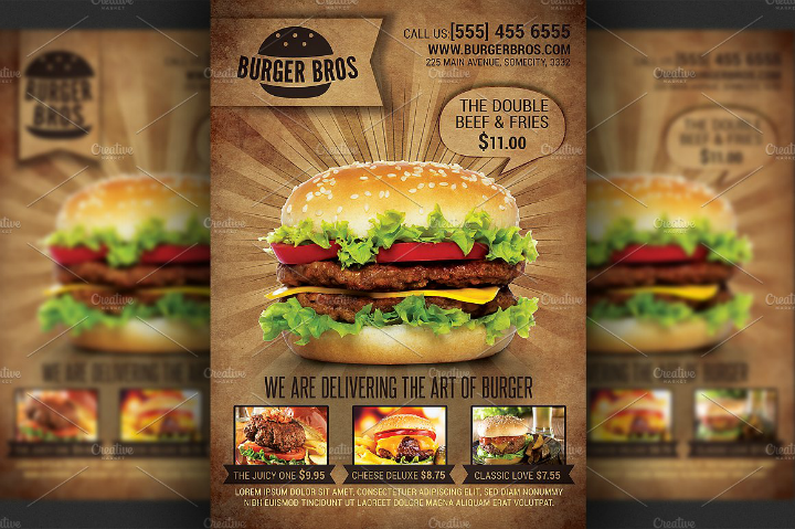 burger promotion flyer advertising template