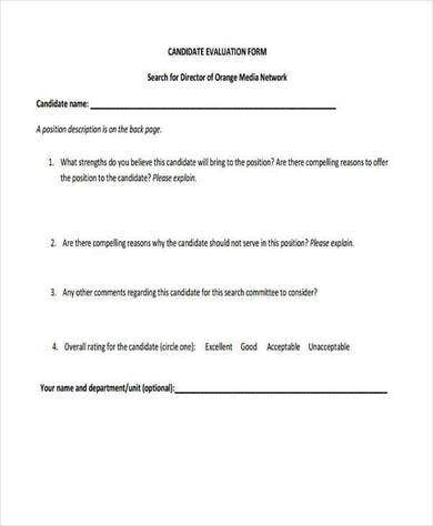 candidate evaluation form example