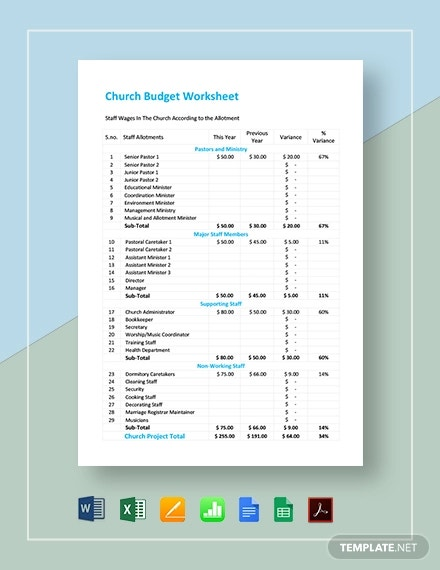 church budget worksheet