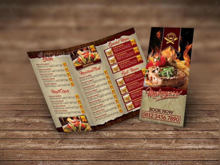 classic restaurant menu trifold brochure template