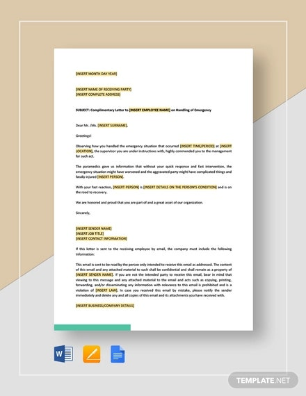 complimentary letter to employee on handling of emergency