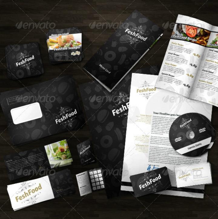 dark restaurant corporate identity letterhead template