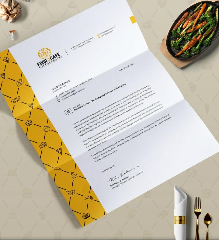 fast food restaurant letterhead template set