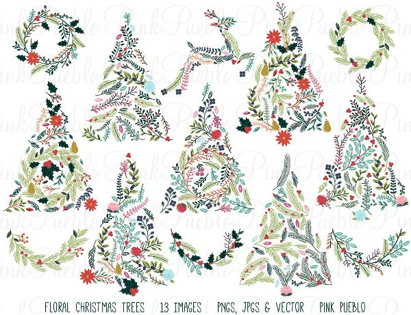 floral-christmas-trees-bunting