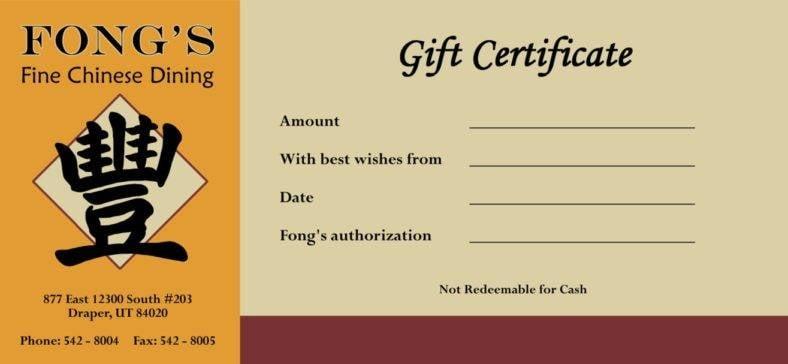 Fong's Restaurant Gift Certificate Template