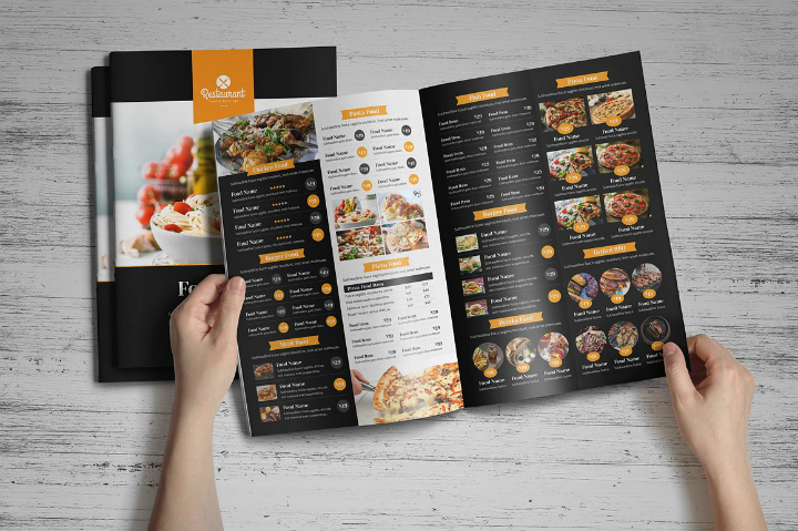 food-menu-bifold-trifold-brochure-template