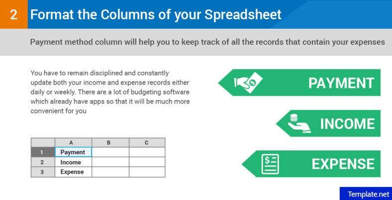 Format the columns of your spreadsheet