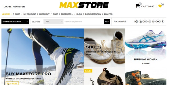 free foot wear ecommerce wordpress theme