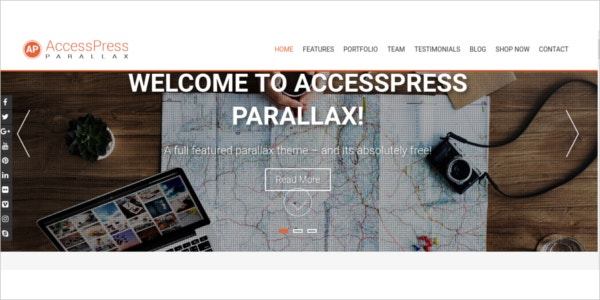 free responsive parallax one page wordpress theme