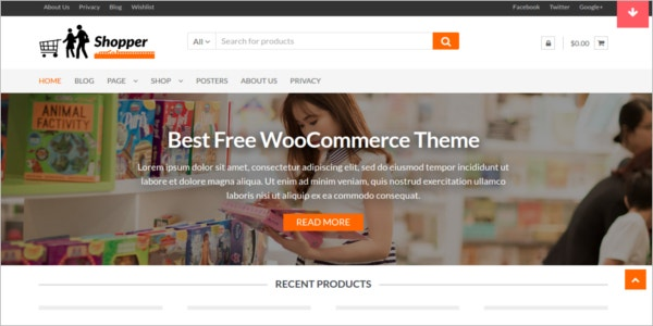 free ecommerce customizable wordpress theme