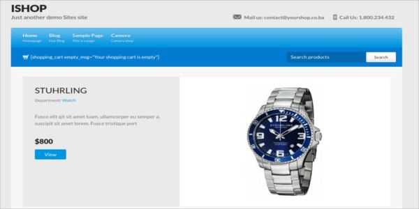 free ecommerce watch store wordpress theme