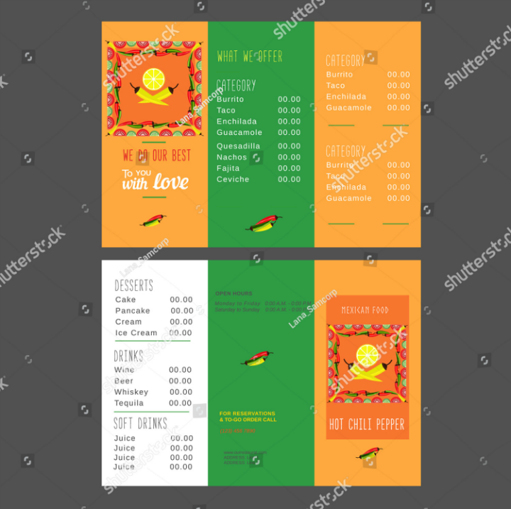 green-orange-mexican-takeout-brochure-template-set