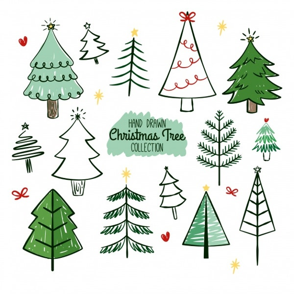 hand-drawn-christmas-trees